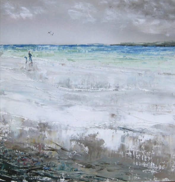 Walkers on Elsness Beach